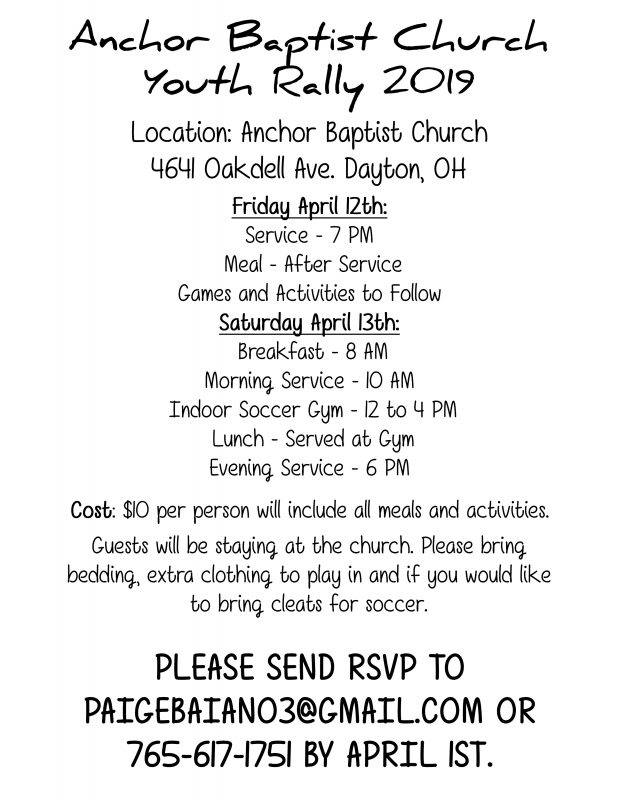 Youth Rally flyer for event at Anchor Baptist Church in Dayton, Ohio